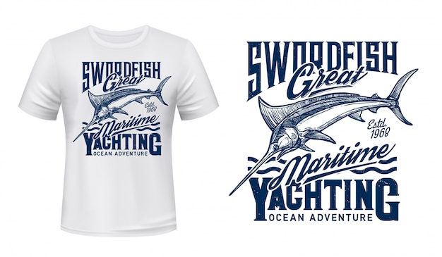 Fishing, yachting t-shirt print with blue marlin