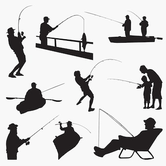 Fishingman silhouettes
