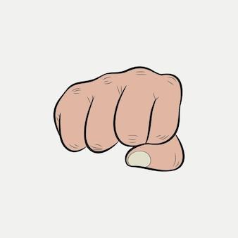 Кулак. сжатые пальцы, направленные вперед, удар. векторная иллюстрация.