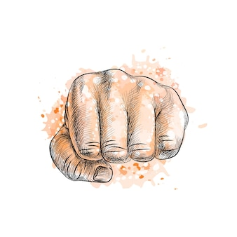 Fist from a splash of watercolor, hand drawn sketch.  illustration of paints