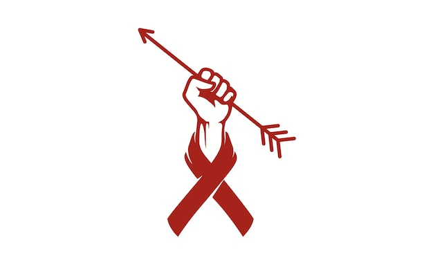 Fist hand, arrow and ribbon for charity logo design