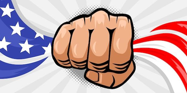 미국 국기를 들고 주먹 손