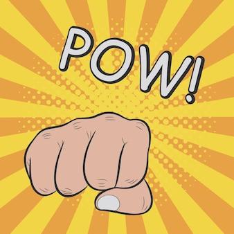 Fist hitting or punching pow comic illustration in pop art retro style