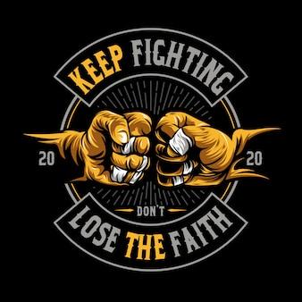 Fist illustration on solid color