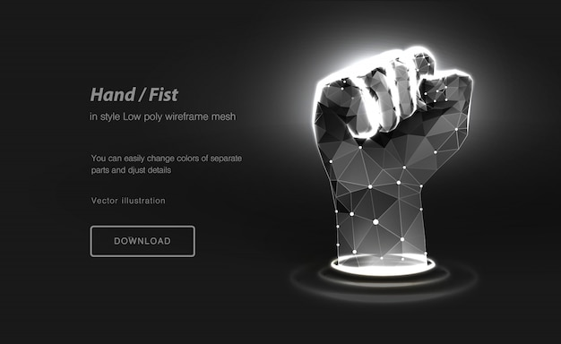Fist low poly wireframe art. hand gesture of power. polygonal illustration with connected dots and polygon lines.