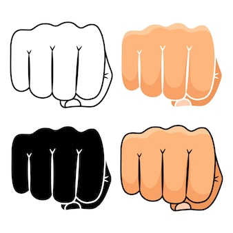 Fist punch icons set