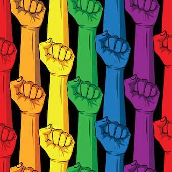 Fist in rainbow colors on a black background. lgbt community poster design