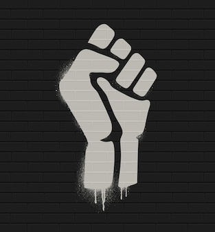 Fist raised in protest. fist icon isolated on a brick wall. illustration