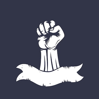 Fist raised in protest and ribbon, vintage style