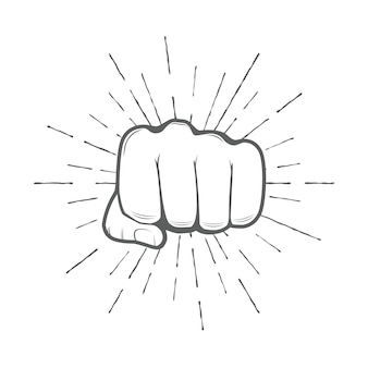 Fist with sunbursts, vector illustration