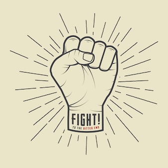 Fist with sunbursts in vintage style