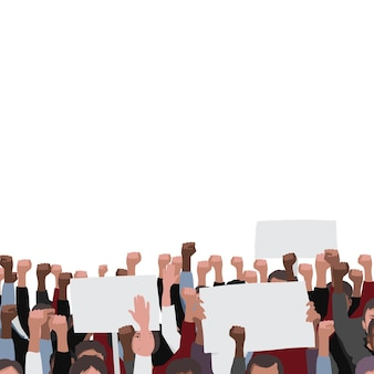 Fists raised pattern with banners public people protest illustration template with text place