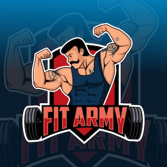 Fit army body builder mascot esport logo