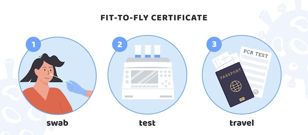 Fit to fly certificate. covid pcr testing procedure for travelling. vector medical infographic