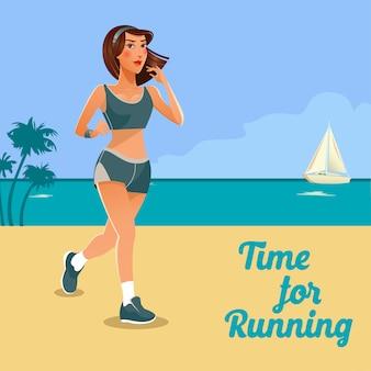 Бегущая женщина. fit girl делает спортивные упражнения. женщина работает на пляже.