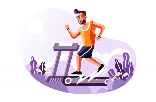 Fit man running on treadmill with a new cartoon vector style vector illustration