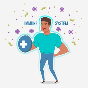 Fit man with good immune system against viruses