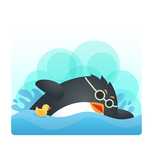 Fit penguin swimming