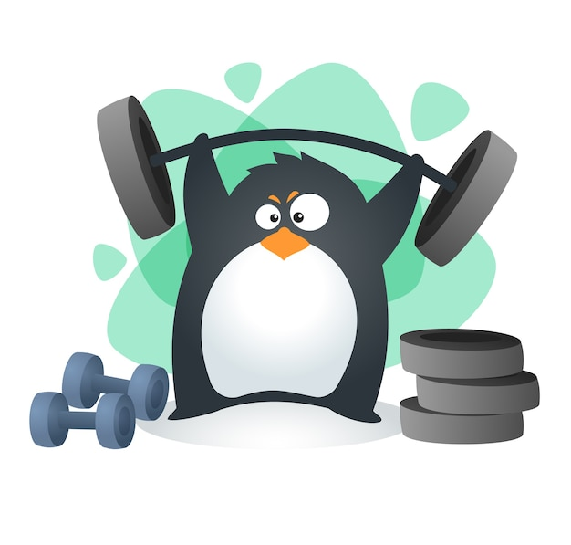Fit penguin weightlifting