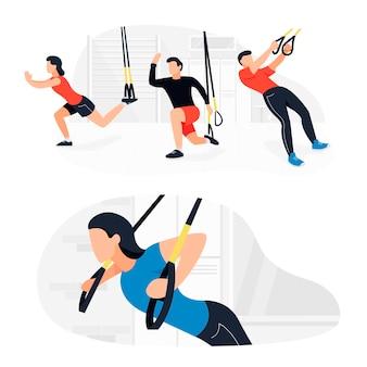 체중 운동을 하는 trx에서 운동하는 사람들. 체력 강화 훈련 운동.
