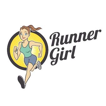 Fit runner girl mascot logo
