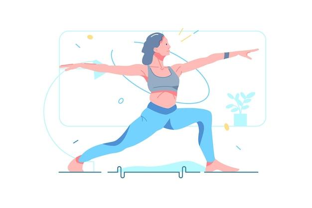 マットベクトルイラストでヨガをしている女性に合います。ヨガポジションフラットスタイルを示す女性キャラクター。フィットネス運動、スポーツ、健康的なライフスタイルのコンセプト。白い背景で隔離