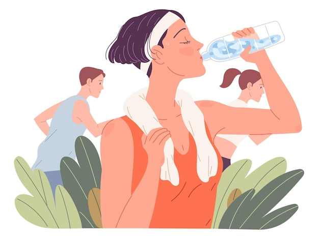 Fit woman drinking water. girl drinks during run in summer.