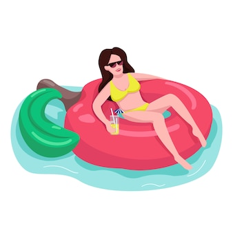 Fit woman in sunglasses  color  faceless character.