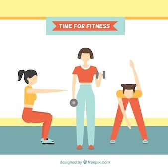 Fit женщины делают физические упражнения фона