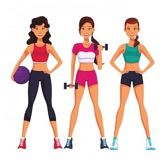 Fit женщины делают упражнения