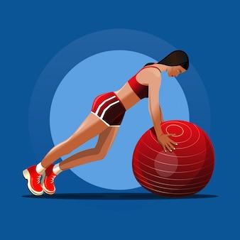Фитбол. девушка и красный фитнес-мяч. девушка делает упражнения с мячом.