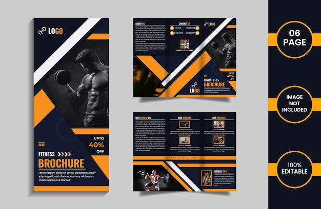 Fitness 6 page trifold brochure design template with yellow and deep blue color geometric shapes.