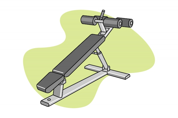 Fitness ab bench cartoon illustration