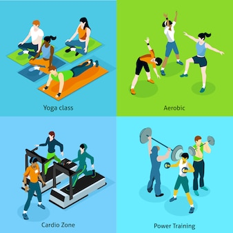 Fitness aerobic isometric icons set