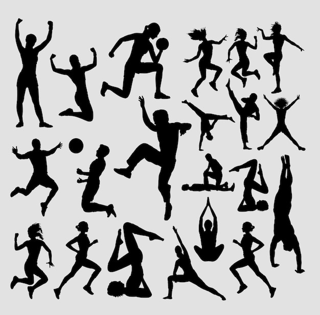 Fitness and aerobic male and female silhouette