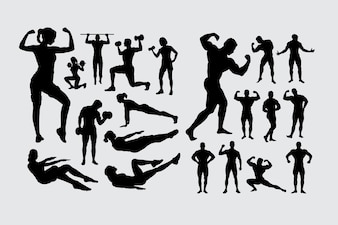 Fitness and body building male and female people sport silhouette