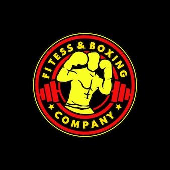 フィットネスとボクシングのエンブレムのロゴデザイン