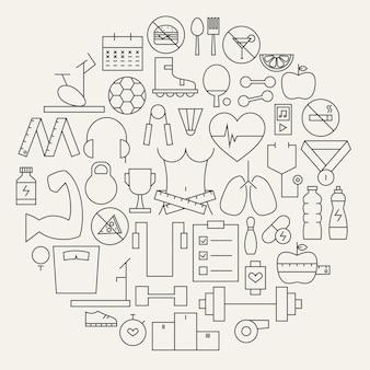 피트 니스 및 다이어트 라인 아이콘 원형 모양을 설정합니다. 스포츠 및 건강한 라이프 스타일 개체의 벡터 일러스트 레이 션