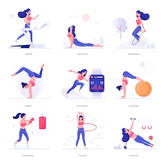 Иллюстрации персонажей для фитнеса и упражнений