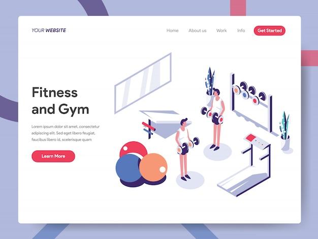 Фитнес и тренажерный зал баннер концепция для страницы сайта