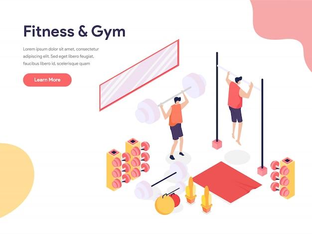 Фитнес и тренажерный зал иллюстрации концепции