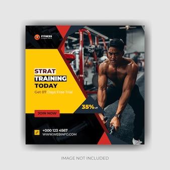 Фитнес и тренажерный зал в социальных сетях instagram-пост и дизайн квадратного флаера premium векторы