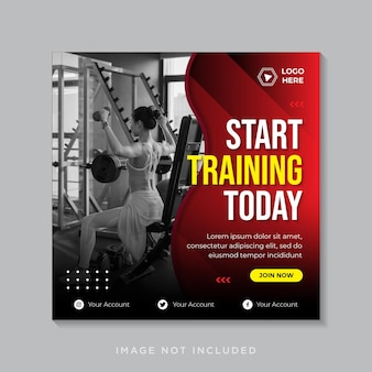 フィットネスとジムのトレーニングソーシャルメディアのinstagramの投稿または正方形のチラシ