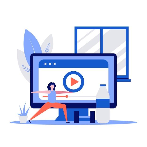 캐릭터와 아령 체력과 건강 스포츠 개념. 컴퓨터에서 비디오를보고 집에서 훈련하는 여자.