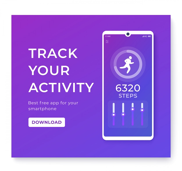 Fitness app, activity tracker for smartphone, pedometer or step counter Premium Vector