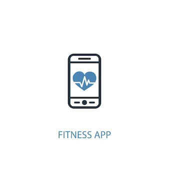 Fitness app concept 2 colored icon. simple blue element illustration. fitness app concept symbol design. can be used for web and mobile ui/ux