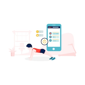 Fitness app illustration in flat style