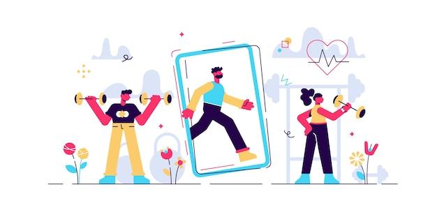 피트니스 앱 그림. 작은 가상 스포츠 사람. 체육관없이 건강한 운동. 최신 모바일 기술을 사용한 개인 교육. 심장 박동과 소파가있는 운동 응용 프로그램.