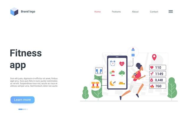건강한 도시 스포츠 운동에서 조깅하는 피트니스 앱 스마트 기술 방문 페이지