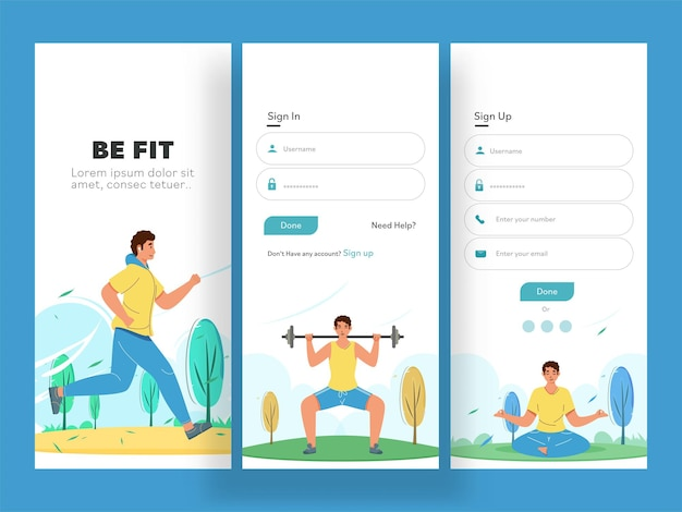 Fitness app ui screens or template layout as sign in